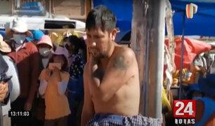 Juliaca: vecinos atan en un poste a ladrón, lo golpean y lo dejan semidesnudo