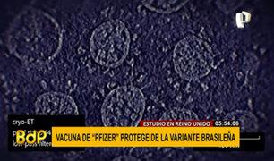 Reino Unido: vacuna Pfizer protege de variante brasileña, según estudio