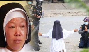 Monja suplica a militares no disparar a niños y mujeres en Birmania