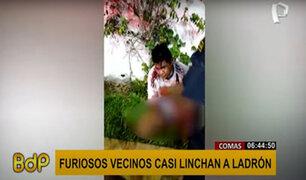Comas: desnudo y duramente golpeado terminó un ladrón de celulares