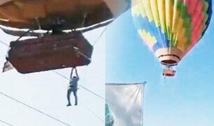 Hombre quedó colgado de un globo aerostático en México