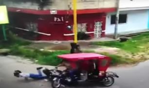 Imprudente motociclista choca contra mototaxi en Tarapoto