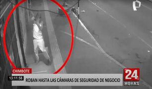 """Chimbote: """"hombre araña"""" se apodera de las cámaras de seguridad de un negocio"""