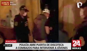 Ayacucho: PNP abre puerta de discoteca a combazos para intervenir a jóvenes