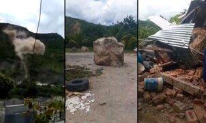 Terror en Jaén: rocas se desprenden de cerro y caen sobre comunidad