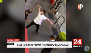Miraflores: sujeto ebrio arma escándalo e intenta golpear a trabajador en restaurante