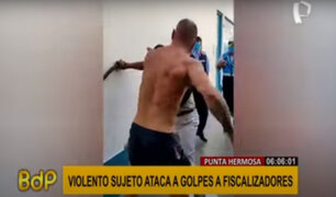 Punta Hermosa: sujeto fuera de control ataca a golpes y patadas a fiscalizadores