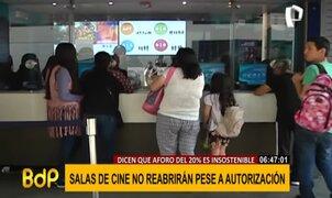 Salas de cines no reabrirán su puertas por aforo insuficiente