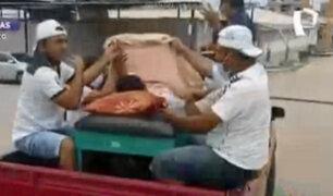 Vecinos agarran a pedradas a camioneta de postulante al Congreso luego que atropellara a mototaxista