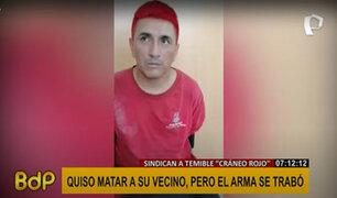 """Cayó temible """"cráneo rojo"""": casi mata a su vecino, pero el arma se trabó"""