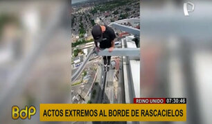 Reino Unido: joven sube a rascacielos de 40 pisos y realiza actos extremos