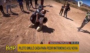 Piloto simula una aparatosa caída para pedirle matrimonio a su novia