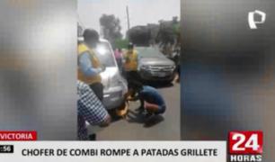 La Victoria: chofer de combi rompe a patadas grillete del vehículo en intervención