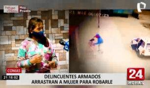 Delincuentes armados arrastran a mujer que quitarle su cartera en Comas
