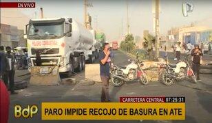 Ate: protestas de transportistas impiden el recojo de basura