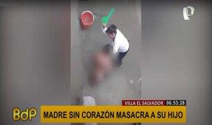 VES: madre es captada golpeando fuertemente a su hijo por no hacer las tareas