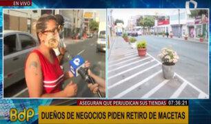 Lince: dueños de negocios piden retiro de macetas en espacios destinados a parqueo