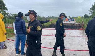 Torrenciales lluvias hacen colapsar carretera en la región San Martín