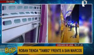 Cercado de Lima: roban tienda Tambo frente a universidad San Marcos