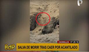 Chorrillos: joven salva de morir tras caer por acantilado en playa La Chira