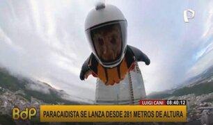 ¡Impresionante! paracaidista se lanza desde 281 metros de altura
