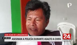 SJL: padre de policía asesinado en asalto en chifa pide que se haga justicia