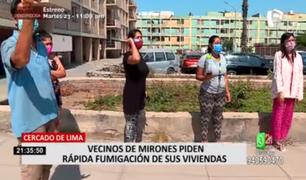 Cercado de Lima: vecinos de Mirones piden fumigación de sus viviendas