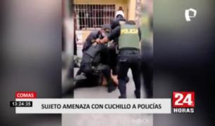 Sujeto amenazó con cuchillo a sus familiares y policías en Comas