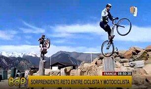 Francia: 'riders' en bicicleta y moto realizan espectacular reto saltando troncos