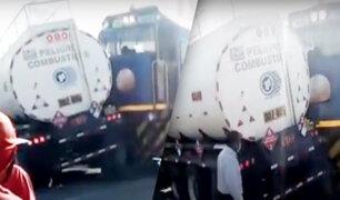 Arequipa: Tren choca con camión cisterna que transportaba combustible