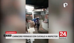 Carnicero persigue con cuchillo a inspector en Cajamarca