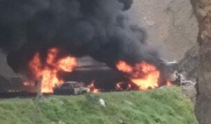 Carretera Central: incendio de camiones cisternas dejó un fallecido