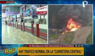 Reabren Carretera Central tras accidente que ocasionó la explosión de seis cisternas