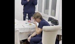 Luka Modric rompe en llanto durante homenaje de sus compañeros