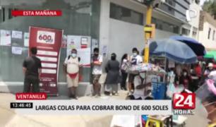 Largas colas se formaron en Lima Norte para cobro de Bono 600