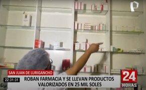 Roban dinero, medicinas y diversos productos por valor de 80.000 soles de una farmacia de SJL