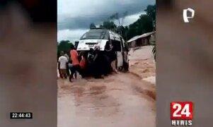 San Martín: desborde de río Tonchima provoca inundación en carretera Fernando Belaunde
