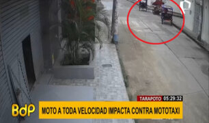 Tarapoto: mujer resultó herida tras violento choque entre dos mototaxis