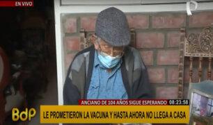 Anciano de 103 años aún no recibe vacuna pese a ser inscrito hasta dos veces en EsSalud