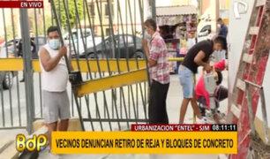 SJM: vecinos vuelven a instalar reja retirada para evitar prostitución clandestina
