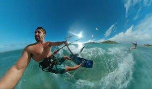 Extremo: tablista realiza increíble salto sobre una isla paradisiaca