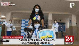 Pequeña vence a la COVID-19 tras permanecer 9 días internada en el hospital Almenara