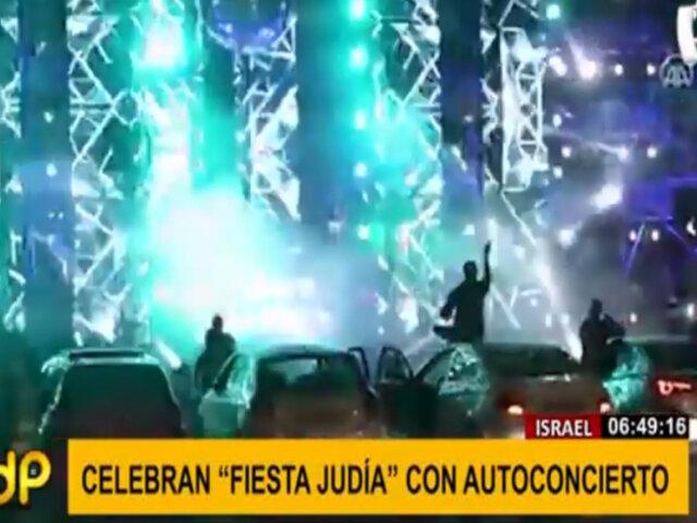 """Israel: celebran """"fiesta judía"""" con concierto y público en automóviles"""
