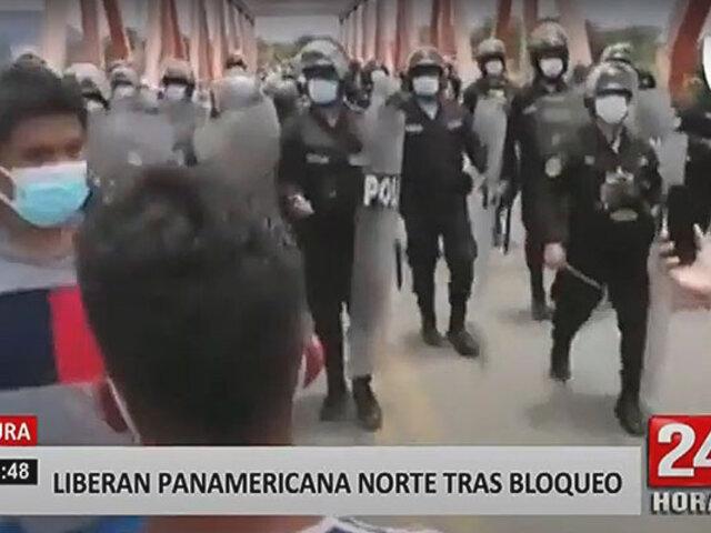 Piura: lanzan gas lacrimógeno a manifestantes que bloquearon Panamericana Norte