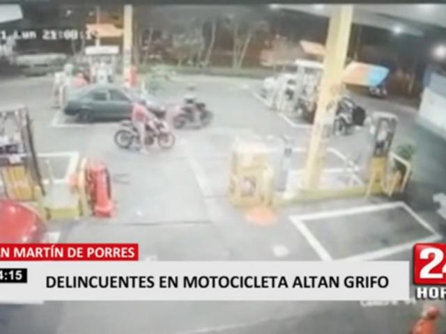 Delincuentes en motocicleta asaltan grifo en San Martín de Porres