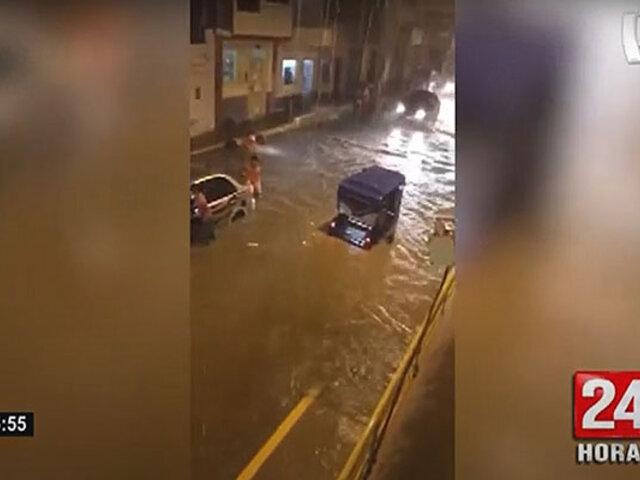 Piura: intensas lluvias inundan calles de las ciudades costeras
