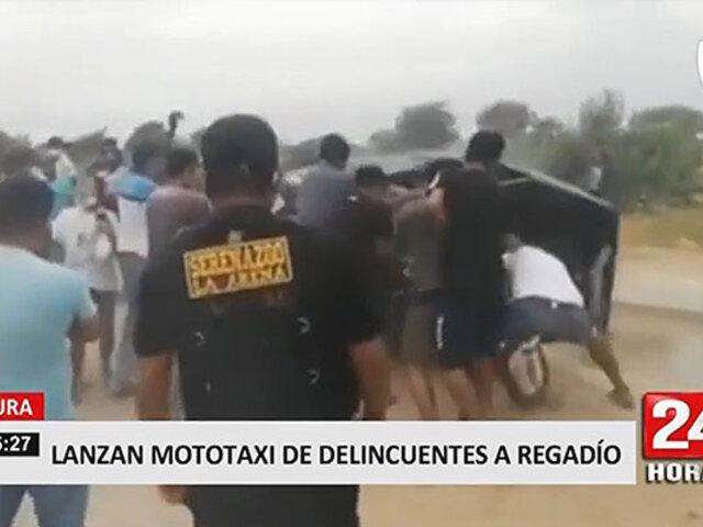 Vecinos molestos lanzan mototaxi de ladrones a un canal de regadío