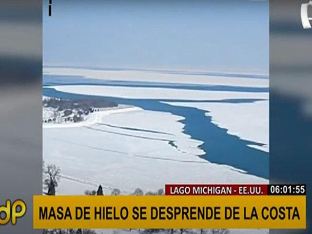 EEUU: Un kilómetro de masa de hielo se desprende del lago Michigan