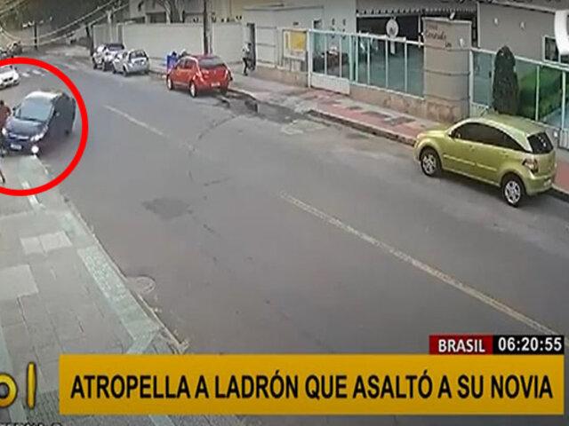 Brasil: sujeto atropella con su auto a ladrón por robarle a su novia