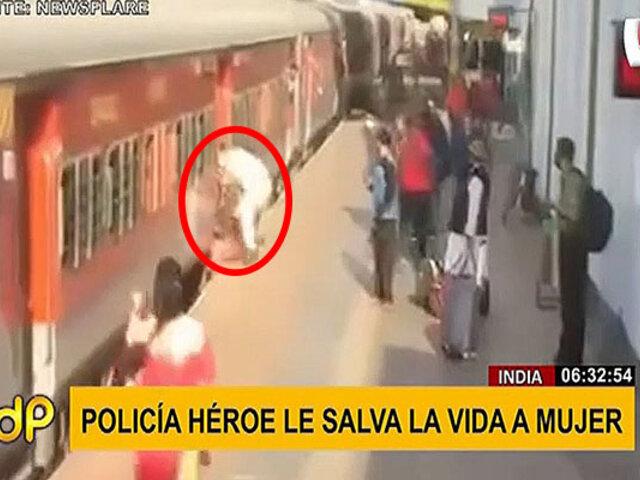 India: policía le salva la vida a mujer que casi es arrollada por un tren